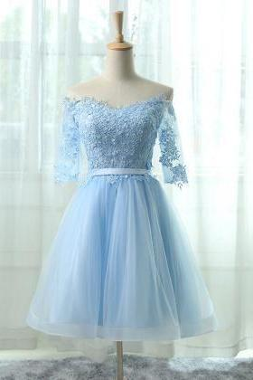 A-Line Off the Shoulder Half Sleeves Light Blue Tulle Homecoming Dress with Appliques ,Short Homecoming Dresses 2017, Juniors Homecoming Dresses, Cheap Homecoming Dresses,Dresses For Homecoming